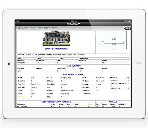 Landscape view of iPad displayed data collection.