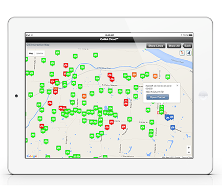 iPad displaying Interactive GIS.